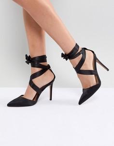 Атласные туфли на каблуке со шнуровкой ASOS PINOT - Черный