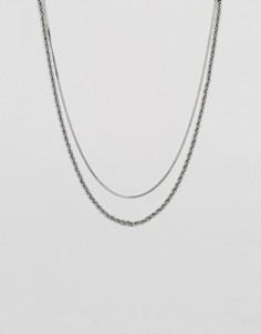 Серебристое ожерелье из двух цепочек разного вида плетения Mister Double - Серебряный
