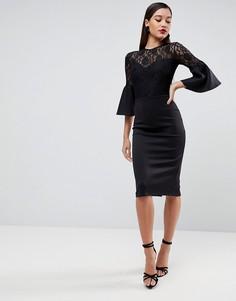 Облегающее платье миди с кружевным лифом и расклешенными рукавами ASOS - Черный