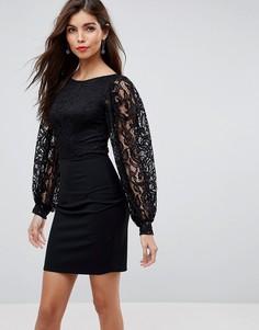 Платье мини с кружевным лифом ASOS - Черный
