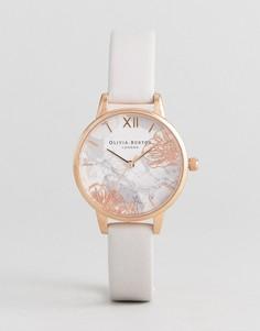 Часы с кожаным ремешком и абстрактным цветочным принтом Olivia Burton OB16VM12 - Розовый