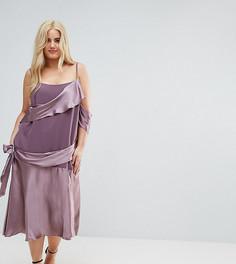 Атласное платье миди в стиле колор блок ASOS CURVE - Фиолетовый