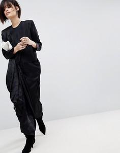 Атласное платье миди с завязкой ASOS WHITE - Черный