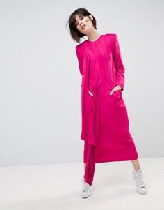 Атласное платье миди с завязкой ASOS WHITE - Розовый