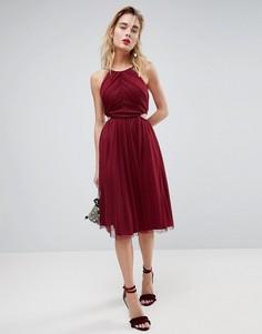 Платье миди из ткани добби с высоким воротом и вырезами по бокам ASOS - Фиолетовый