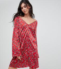 Чайное платье с длинными рукавами и цветочным принтом в винтажном стиле Glamorous Tall - Красный