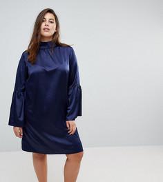 Платье с высоким воротником и расклешенными рукавами Unique 21 Hero - Темно-синий