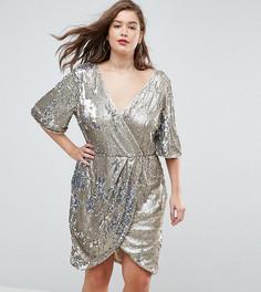 Платье миди с запахом и пайетками TFNC Plus - Золотой