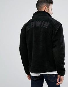Куртка с меховой отделкой и аппликацией на спине Edwin - Черный