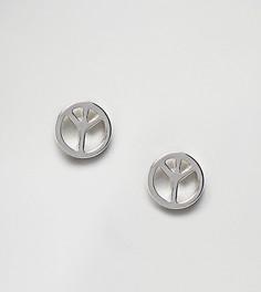 Серебристые серьги-гвоздики с символом мира Reclaimed Vintage Inspired эксклюзивно для ASOS - Серебряный