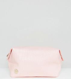 Эксклюзивная розовая косметичка с эффектом крокодиловой кожи Mi-Pac - Розовый