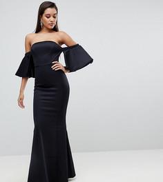 Платье макси с открытыми плечами и расклешенными рукавами Lipsy - Черный