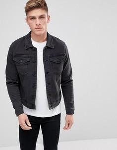 Черная выбеленная джинсовая куртка Only & Sons - Черный