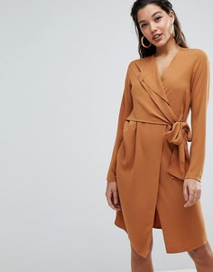 Платье с длинными рукавами и запахом Parallel Lines - Рыжий
