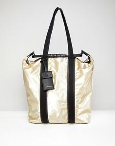Сумка-шоппер с эффектом металлик Calvin Klein - Золотой