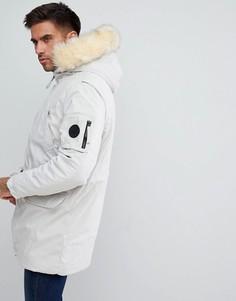 Пальто с капюшоном из искусственного меха River Island - Белый