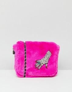 Сумка из искусственного меха на цепочке Esssentiel Antwerp - Розовый