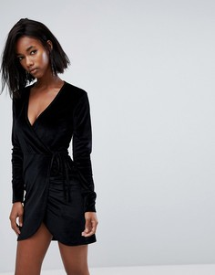 Бархатное платье мини с запахом Boohoo - Черный