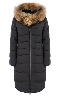 Пальто на искусственном пуху с отделкой мехом енота La Reine Blanche