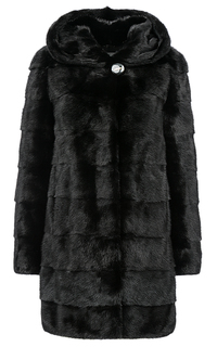 Черная норковая шуба с капюшоном Flaumfeder