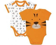 Боди короткий рукав детский «Тигрята» Barkito 2 шт., экрю с рисунком/оранжевый