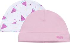 Шапка для девочки «Арбузики» Barkito 2 шт., розовая/белая с рисунком