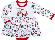 Боди-платье детское с длинным рукавом для девочки Barkito «Новый год», белое с отделкой