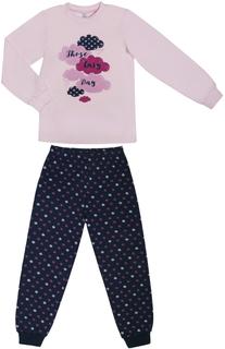 Пижама для девочки Barkito «Сновидения», верх - розовый, низ - синий с рисунком