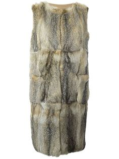 пальто без рукавов из лисьего меха Liska