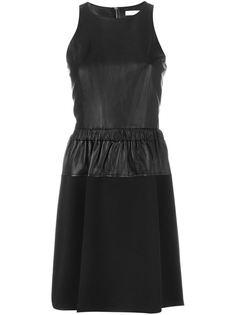 расклешенное платье с кожаной панелью Michael Michael Kors