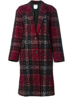 пальто в клетку с леопардовым принтом  DKNY