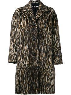 пальто с зебровым принтом  Rochas