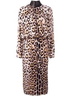 платье с длинными рукавами и леопардовым принтом Tom Ford