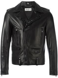 байкерская куртка с отделкой заклепками Saint Laurent
