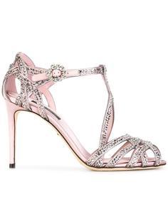 атласные босоножки с блестящей отделкой Dolce & Gabbana