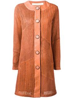 кожаное пальто без воротника Drome