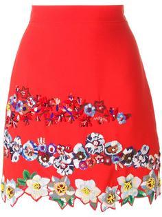 юбка А-образного силуэта с цветочной вышивкой MSGM