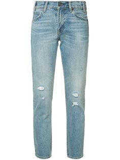 укороченные джинсы с потертой отделкой Levis