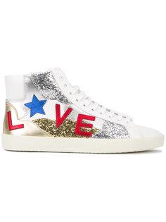 кроссовки с блестками и заплатками Saint Laurent