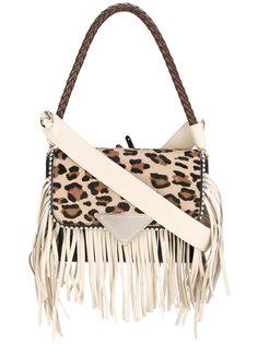 сумка Amber с леопардовым узором и бахромой Sara Battaglia