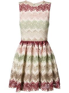 кружевное мини-платье с зигзагообразным узором Alice+Olivia