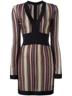 платье с V-образным вырезом в полоску Balmain