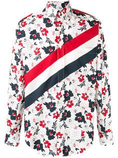 полосатая рубашка с цветочным принтом Thom Browne