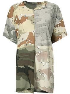 футболка лоскутного кроя с камуфляжным узором Mm6 Maison Margiela