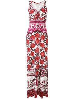 длинное платье с принтом роз Roberto Cavalli