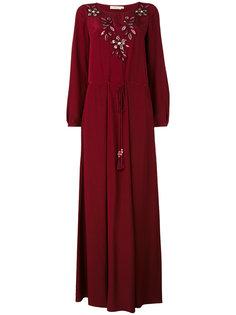 длинное платье с цветочной вышивкой Tory Burch