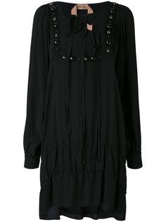 платье с длинными рукавами и отделкой  Nº21