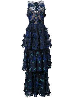 ярусное платье с цветочной аппликацией  Marchesa Notte