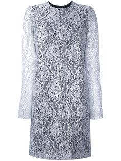 короткое платье с кружевными рукавами MSGM