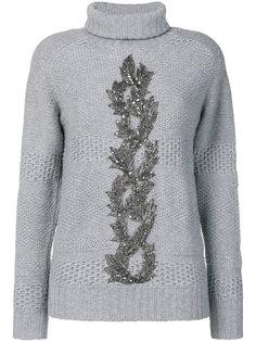 свитер с высоким воротником и украшением из бусин Jo No Fui